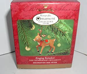 "2000 HALLMARK KEEPSAKE COLLECTORS CLUB ORNAMENT ""RINGING REINDEER"""