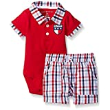 Tommy Hilfiger Baby-Boys Pique Bodysuit and Woven Plaid Poplin Shorts, Red, 6-9 Months