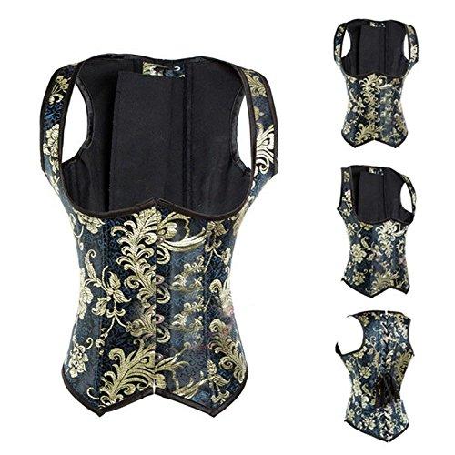 Doratura acciaio ricamo Backs occidentale Corsetti Sexy corte poliestere corsetto corpetto, gold foil, XXXL