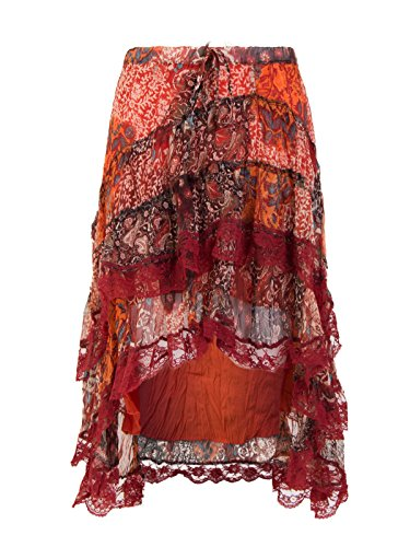 Amber Orchid Kids Floral Print Lace Tiered Summer Ruffle Gypsy Frill Chiffon Skirt Burnt Orange 13 Years
