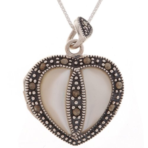 Silver Marcasite Heart Mother of Pearl Pendant
