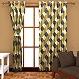Ab home decor Polyester Window Curtains (Set of 2)- 5 Feet x 4 Feet,Green