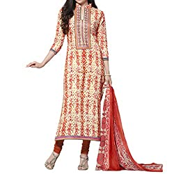 Bhelpuri Women Cream and Orange Cambric Cotton Dress Material