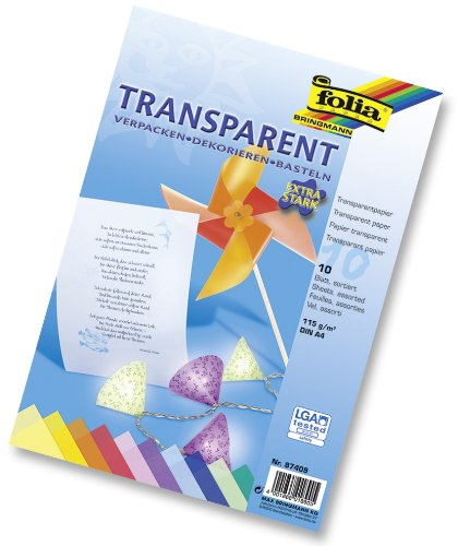 Folia 87409 - Transparentpapier A4 115 g 10 Blatt farbig sortiert hergestellt von Folia