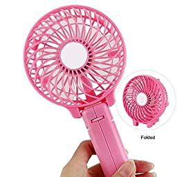 YYCAM Portable USB Handheld Fan Mini Battery Foldable Fan Best for Indoor and Outdoor Strong Wind Desktop Cooling Fan (Pink)