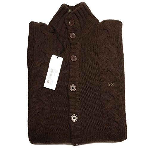 56236 cardigan uomo marrone SUN 68 SALE OUTLET lana maglione men jumpers [M]