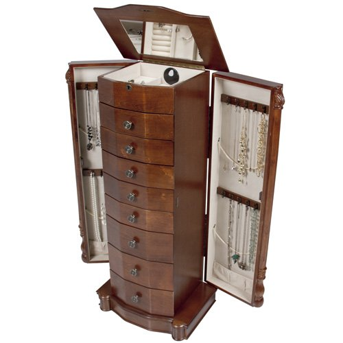 Hives and Honey Best Choice Products Armoire Jewelry Cabinet Box Storage Chest Necklace Wood Walnut Stand Organizer