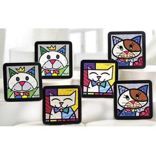 New Romero Britto Coasters Cat Set of 6 Drink Holder !!