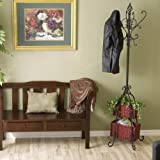 SEI Metal Scroll Hall Coat Tree with 2 Rattan Storage Baskets, Black