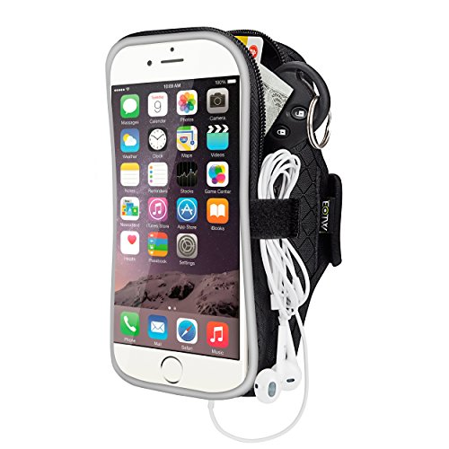 EOTW Fascia da Braccio Armband Portacellulare Custodia Sportiva per Smartphone Samsung iPhone Asus LG con Velcro Strap Regolabile da Corsa Maratona Palestra Correre (5,5 inch Nero)