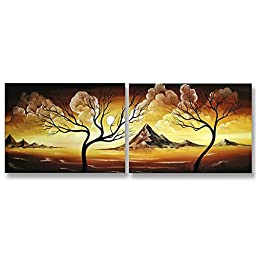 Neron Art - Handpainted Landscape Oil Painting on Gallery Wrapped Canvas Group of 2 pieces - Velbert 24X8 inch (61X20 cm)