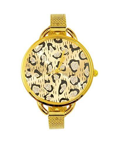 Young & Forever Valentine Special Newyork Designer Leopard Glitter Bracelet Watch For Women by CrazeeMania