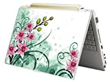 """Bundle Monster MINI NETBOOK Laptop Notebook Skin Sticker Cover Art Decal - 7"""" 8"""" 9"""" 10"""" - Fit HP Dell Asus Acer Eee Compaq MSI - Pink Green Floral"""
