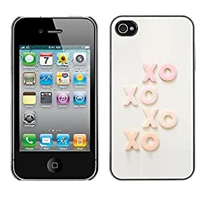 Omega Covers - Snap on Hard Back Case Cover Shell FOR Apple iPhone 4 / 4S - Xo Kisses Text Sweet Love Sweetheart