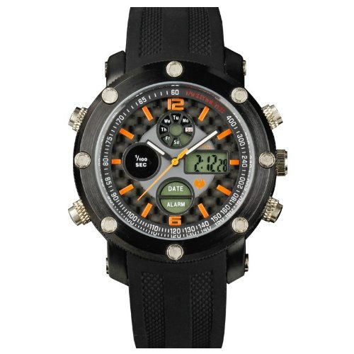 INFANTRY Mens Wrist Watch Digital and Analogue Combi Dual Time with Rubber Strap Orange #IN-040-O-R