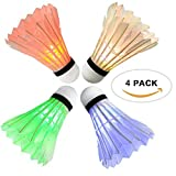 Arespark LED Badminton Shuttlecock, Dark Night Colorful LED Goose Feather Glow Birdies Lighting, Light Up Shuttle-Cocks Badminton Balls for Outdoor & Indoor Sports Activities, 4-Pack (Color: 4-Pack)