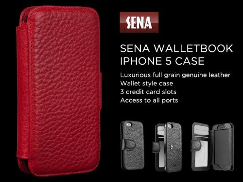 Special Sale Sena 8268C8 Wallet Book Leather Case for iPhone 5 & 5s - 1 Pack - Retail Packaging - Pebble Red