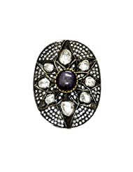 Gehna Star Ruby & White Sapphire Gemstone Studded Ring Made In .925 Solid Silver