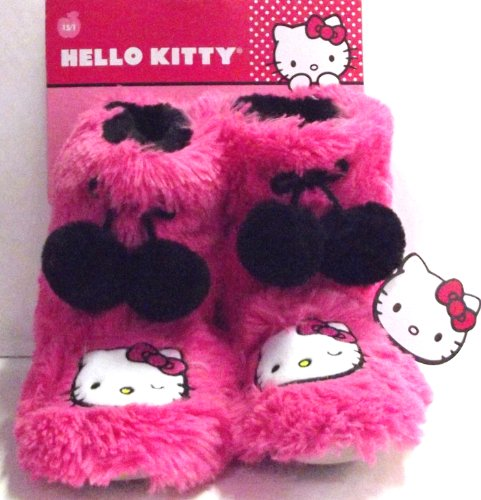 Hello Kitty Face Pink Shaggy Kids Boot Slippers with Black Pom Poms