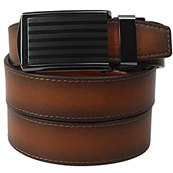 Cognac Full Grain Leather with Bar Striped Buckle