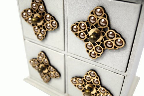 Geko Coffret tiroirs pour bijoux Dcorations toiles Gris 20,3 x 14 x 20,5cm