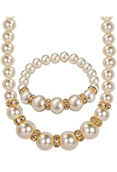 U7 Jewelry Pear Strand 18K Gold Plated Cultured A Quality Pearl Stretch Bracelet & Necklace Set