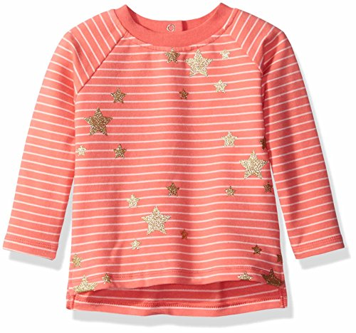 Rosie Pope Little Girls Glitter Star Top, Coral, 24 Months