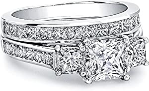 2.20 Carats Three Stone Diamond Engagement Anniversary Bridal Ring and Band Set On 14K Solid Gold GIA Certified