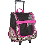World Traveler Leopard Print with Hot Pink Trim Rolling Pet Carrier Backpack