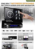 """XTRONS Single 1 Din 7"""" Motorized Detachable HD Touch Screen Car Stereo In Dash USB SD IPOD DVD Player GPS Navigation Radio RDS Bluetooth"""