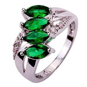 Yazilind Women's Ring with Marquise Cut Emerald Quartz White Topaz Gemstones Silver UK Size S