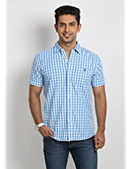 Blumerq Men's Casual Blue Shirt - B00M0LXN7E