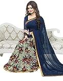 Denim womans bollywod designer ayesha takia printed with fancy lace border saree TV13