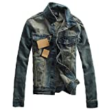 STYLISH BOY デニム ジャケット ジージャン ミリタリー アーミー サファリ 男性 メンズ オリジナルブレスレット付 XA00002 (S, ダークブルー)