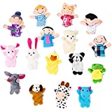 OPount 16 Pcs Soft Plush Animal Finger Puppets Set Including 10 Pcs Animal + 6 Pcs People Family Members Educational...