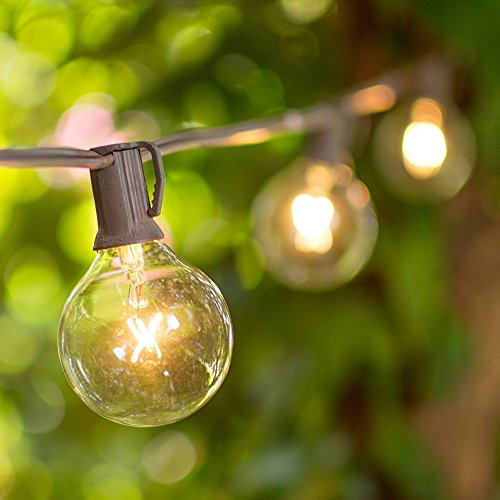 Globe String Lights, 2 Inch E12 Glass Bulbs, 50 Foot Brown Wire C7 Strand, Indoor/Outdoor, End ...
