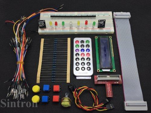 [Sintron] T-Cobbler GPIO Extension Board Starter Kit for Raspberry Pi with 1602 LCD Display + Switch + DS18B20 Temperature Sensor Module + IR Remote Sensor Module + Breadboard