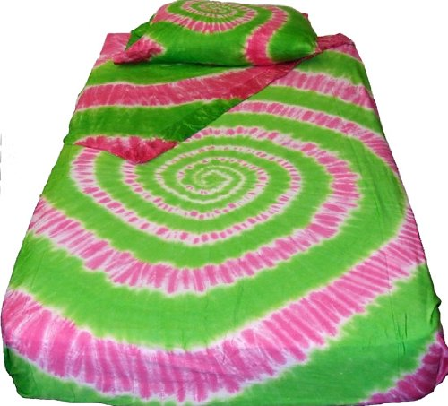 Pink N Green Spiral Tie Dye Bedding - Full