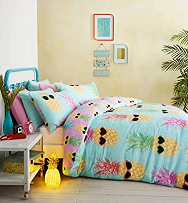 Catherine Lansfield Funky Pineapple Double Quilt Set - Turquoise
