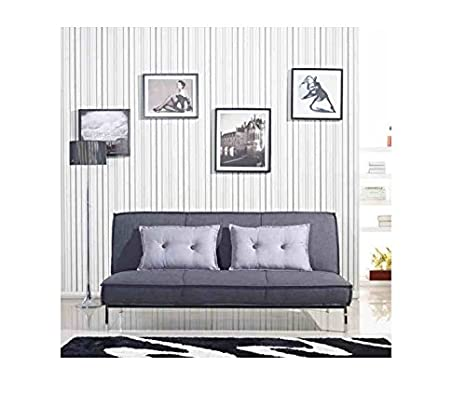 Vitoria 76-inch Charcoal Grey Upholstered Sleeper Sofa Bed with French Seams