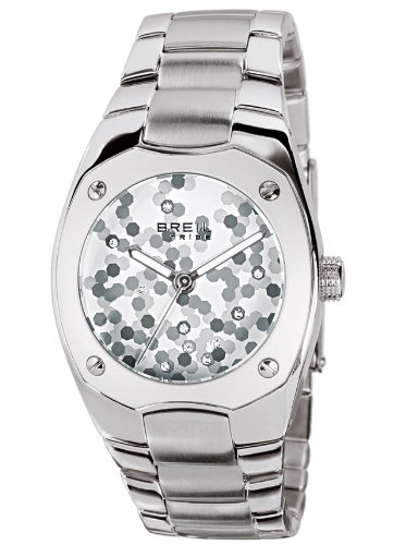 Breil Ladies Cover Quartz Watch TW0496 with Silver Patterned Dial, Stainless Steel Case and Bracelet, 100M Water Resistant