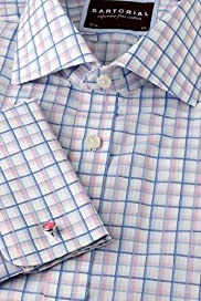 "2"" Longer Luxury Sartorial Pure Cotton Overchecked Shirt"