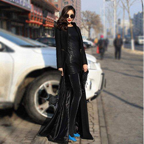 Zeagoo Women Parka Slim Fit Long Trench Coat Full-Length Wool Blend Zipper Jacket