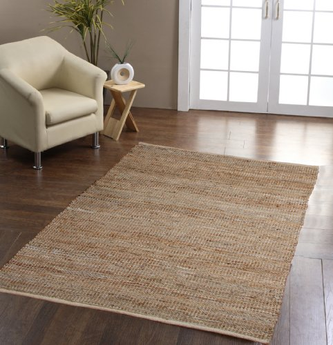 Homescapes Madras Leather Hemp Rug - Natural Beige Grey - 4 x 6 ft