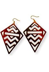 Fashion Earrings Dangle Aztec Design in Gold Tone Metal