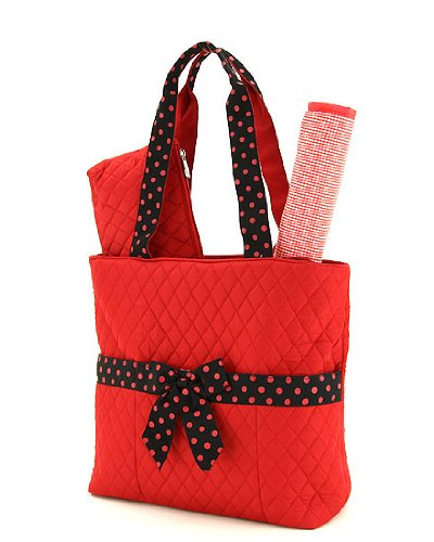 Quilted Solid Diaper Bag /W Changing Pad (Red & Black)