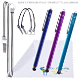 "3-Pack of Premium Large 5.3"" Universal Capacitive Stylus Touch Screen Pen for iPods, iPhones, iPads and various other tablets - The Friendly Swede Microfiber Cloth and Retail Packaging (Purple, Aqua Blue, Dark Blue)"