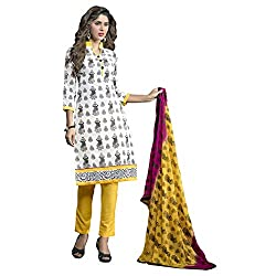 Manthan Chanderi White & Black Printed Women's Chudidar Suit MNTKFAVCLFL2011