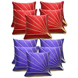 Blooms Rays Red & Blue Cushion Cover Set Of 10 Pcs (40x40cms)