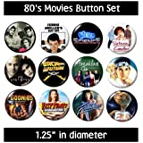 80's MOVIES BUTTONS (set #1) pins films 1980's eighties new!